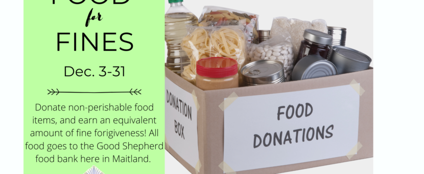 Food for Fines until December 31